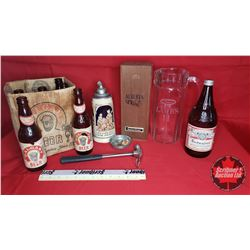 Tray Lot: Beer/Liquor Collectibles : Budweiser Bottle (Full/Unopened) & Stein & Calgary Beer Box & 6