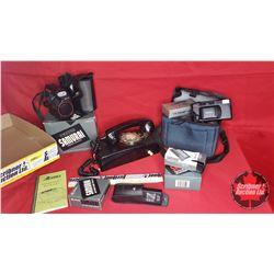 Tray Lot : Retro Phone with Camera & Camera Accessories Collection & Alberta Operators Manual 1975