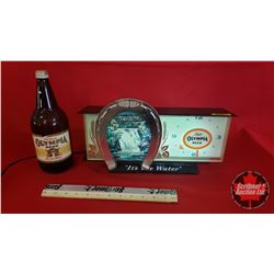 Olympia Beer Light Up Clock w/Olympia Beer Bottle
