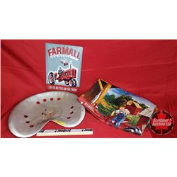 """Implement Seat with Farmall Quilt & Tin Sign (10"""" x 14"""")"""