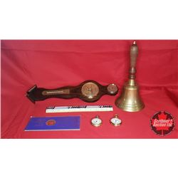 Tray Lot : Barometer, Brass Hand Bell, Westlock Pocket Watches (2) & Great Canadian Oil Sands Token