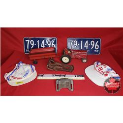 Collector Combo: Toy Tractor & Wagon, Match Set Alberta Farm Plates 1972 & Antique Tractor Parts (2)