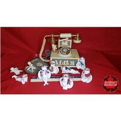 Wedgewood Design Vintage Look Phone (Working) & Ornaments & 3 Pieces of Wedgewood