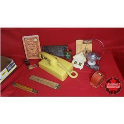 Tray Lot: Yellow Phone, Radar Lamp, Mystic Weather Forecaster, Postal Info 1956, Singer Oil, Lighter