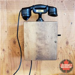Phillips Electric Wall Mount Wood Box Phone (Crank & Bells Ring)