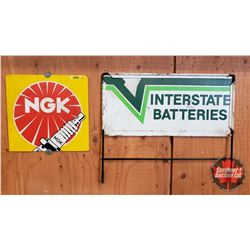 """Interstate Batteries Sign from Rack (20""""W x 17""""H) & NGK Spark Plug Plastic Sign (Cut off) (12"""" x 12"""""""