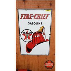 "Fire-Chief Gasoline Texaco Gas Pump Sign - Enamel 1945 (12"" x 18"")"
