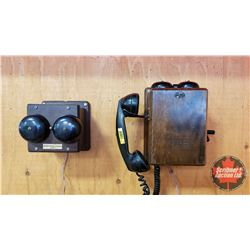 Northern Electric Combo: Wooden Wall Mount Wood Box Telephone & Wood Box Ringer