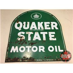 """Quaker State Vintage Metal Double Sided Sign """"Tombstone"""" (29"""" x 26-1/2"""")"""