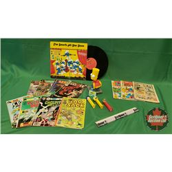 Collector Combo: Bart Simpson Bobble Head Toy, 3 Pez Dispensers, Variety Comic Books & The Smurfs Al