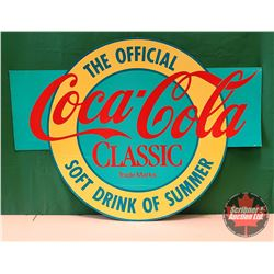 """Double Sided Cardboard Sign : """"The Official Coca-Cola Classic Soft Drink of Summer""""  (48""""W x 36""""H)"""