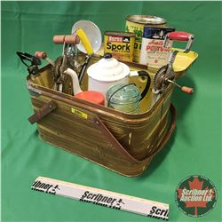 Vintage Kitchen Collector Combo: Tin Picnic Basket with Beaters, Tins, Enamel Coffee Pot, Pot Lifter