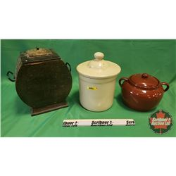 Container Trio: Bean Pot, Crock with Mismatched Lid & Wooden Urn
