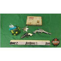 Collector Combo: Cigarette Tin, Toy Sheriff Badge, 2 Toy Guns & Bag of Marbles