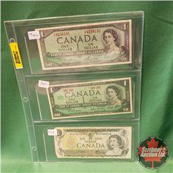 Canada One Dollar Bills - Sheet of 3: 1954 Lawson/Bouey & 1967 Beattie/Rasminsky Centennial & 1973 C
