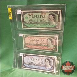 Canada Bills - Sheet of 3: $1 Beattie/Rasminsky 1967 & $2 Lawson/Bouey 1954 & $5 Beattie/Coyne