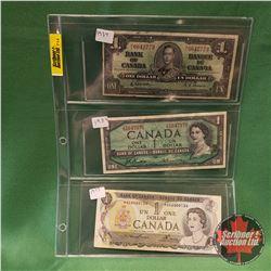 Canada One Dollar - Sheet of 3: 1937 Gordon/Towers & 1954 Beattie/Rasminsky & 1973 Lawson/Bouey *Rep