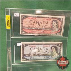 Canada Bills - Sheet of 2: $2 Lawson/Bouey & $5 Beattie/Rasminsky