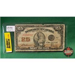 "Dominion of Canada Twenty Five Cent ""Shinplaster"" 1923"