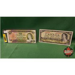 Canada Twenty Dollar Bills (2) : 1969 Beattie/Rasminsky & 1954 Beattie/Rasminsky