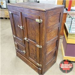 """Antique Refrigerator with Front & Side Access (45""""H x 33""""W x 18-1/2""""D) (Manufacture Tag """"Leonard Whi"""