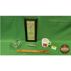 Retro Gas Station Collector Combo: Lif-de-loc, Ashtray, Framed Alberta Road Map 1941, Pocket Oiler &