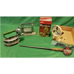 Tray Lot - Kitchen Items : Bean Slicer, Knife Sharpener, Cheese Slicer, Royal Clothes Iron