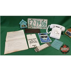 Tray Lot: Retro White Rotary Phone, Mystic Weather Forecaster, Collapsible Ruler, Sask Lic Plate 196