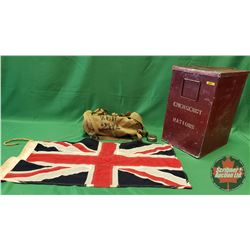 "Emergency Rations Large Canister (Burgundy) (20""H x 12""W x 14""D) with Union Jack Flag & British Mili"