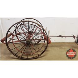 "Antique Firehose Reel Cart (Steel Wheels Dia 50"" x Total Length 105"" x 43""W)"