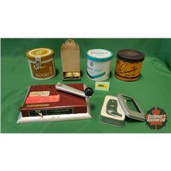 Smokers Combo: 3 Tobacco Tins; Supermatic Cigarette Machine; Match Stick Box Holder & Nibo Boot Ligh