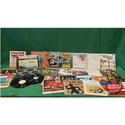 LP Albums (Variety Folk & Country Music) (26) + Variety of 78's (12) & Clean Sweep Record Purifier