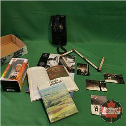 Tray Lot: Black Rotary Wall Phone, Edmonton Oiler Game Photographs, Team Canada Bobble Head, Calenda