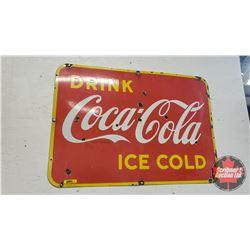 """Enamel 1947 Coca-Cola Sign """"Drink Coca-Cola Ice Cold"""" (20""""H x 28""""W)"""