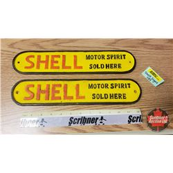 """Cast Iron SHELL Painted Signs """"Motor Spirit Sold Here"""""""