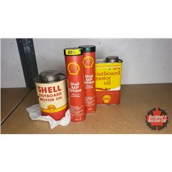 Shell Collection: Outboard Oil Tins (2) & MP Grease (2)