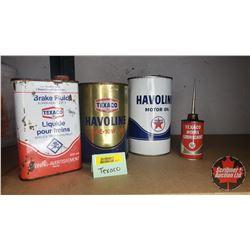Texaco Tin Collectors Combo: Brake Fluid, Havoline Motor Oil (2) & Home Lubricant