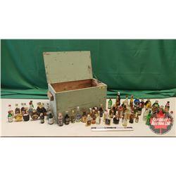 Wooden Box Lot : Collection of Miniature Liquor Bottles