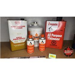 Petroliana Tin Combo (5): Allis Chalmers Machinery Enamel Cans (2), Acrylic Enamel Reducer, Penguin