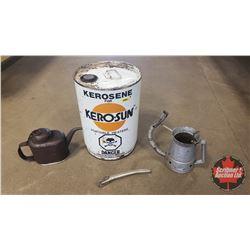 Kero-Sun Kerosene 5 Gallon Pail w/Bottom Draining US 1 QT Oil Jug, Oiler & Quart Spout