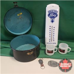 Ford Collectors Combo: Thermometer, Belt Buckle, Key Chain & Motorcraft Cups