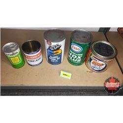 Petroliana Tin Combo (5): B.O.P, St Lawrence Grease, Drive Safe Motor Oil (Full), ESSO (Full) & Bard