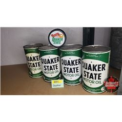 Quaker State Combo : One Quart Oil Tins (4) & Hockey Puck