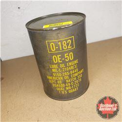 American Oil Company One US Quart Oil Can (Full) - Sept 69 Batch 350