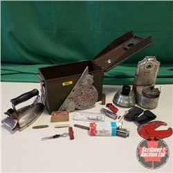 """Ammo Box Lot w/Oil Lamps, Iron, Cooper Bessemer Plaque (10""""W), Lighters, Utility Knives, etc"""