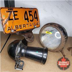 1954 License Plate w/ Holder, Antique Headlight & Horn