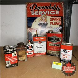 """Red & Black Petroliana Collector Combo : Variety of Tins (6) & Reproduction Spark Plug Sign (16""""H x"""