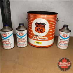 Phillips 66 Collector Tin Combo (4) : Windshield Washer Solvent & Anti-Freeze (3 Full) & Lubricant