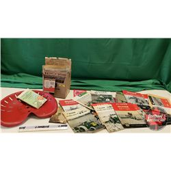 Box Lot : Agricultural Ephemera & Red Painted Implement Seat