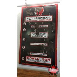 """McColl-Frontenac """"Proper Lubricants - Correctly Applied"""" Store Display Grease Gun Rack (64""""H x 40""""W)"""